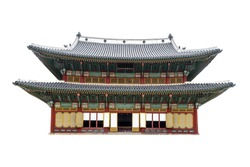 Building part of Changdeokgung Palace  complex (Soeul, South Korea) isolated on white background