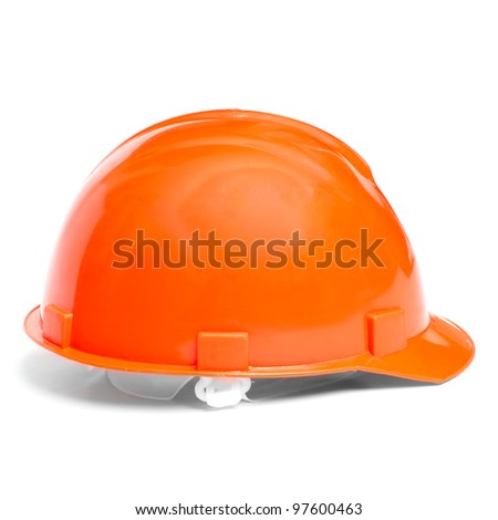 Building protective helmet on white background