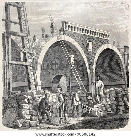 building railway bridge in...
