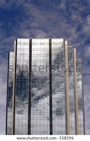 building reflecting clouds