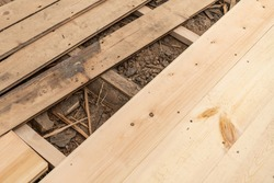 Building renovation, renewal of floorboards