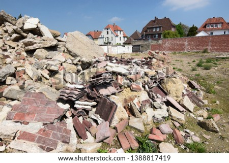 Building rubble on a plot that is to be rebuilt