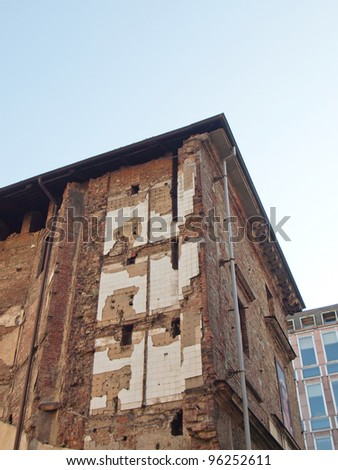 Building ruins caused by bombing during ww2 war time in Turin, Italy