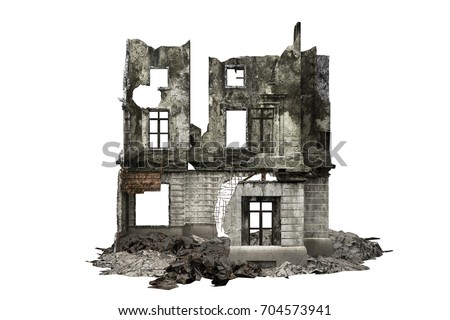 building ruins facade isolated...