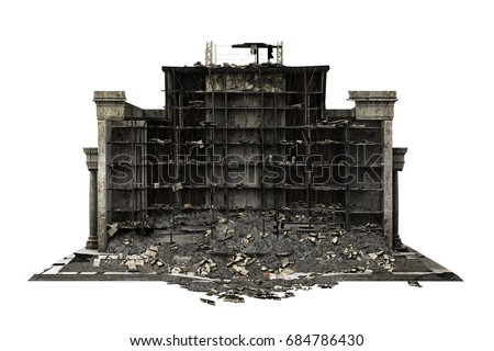 Shutterstock building ruins isolated on white. 3d rendering