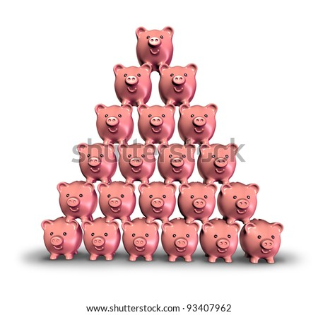 Building Savings and making money by saving your finances as a stack of pink ceramic piggy banks built in the shape of a pyramid as a symbol of growing investments and lifting your financial future.