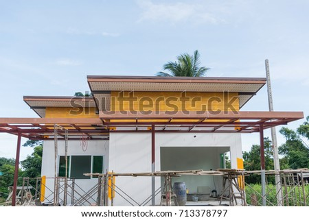 Building Site With House Under Construction #713378797