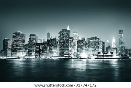 Building Skyscraper Panoramic Night New York City Concept #317947172