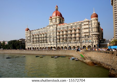 Building TAJ HOTEL in the Victorian style on coast of the Bombay gulf. India. Bombay