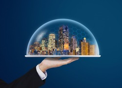 Building technology, home with real estate insurance, and smart city
