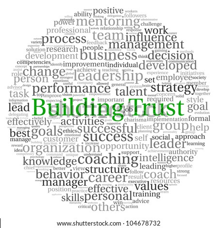 Building Trust concept in word tag cloud on white background - stock photo