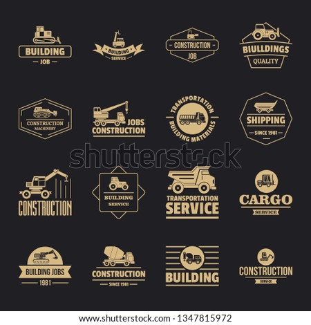 Building vehicles logo icons set. Simple illustration of 16 building vehicles logo icons for web