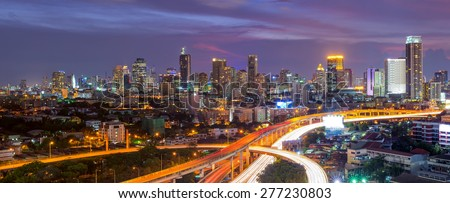 Building views of Bangkok's business district and expressway. stock photo
