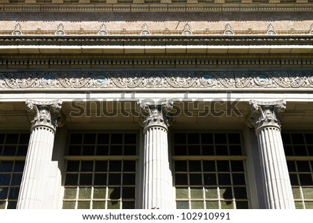 Building with columns and architecture detail
