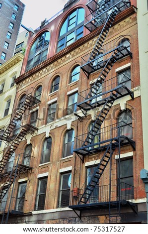 Building with fire escape in New York