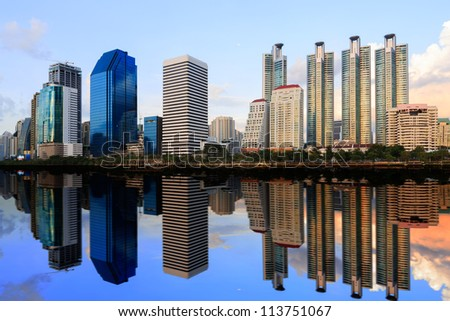 Building with Reflection in Bangkok, Thailand
