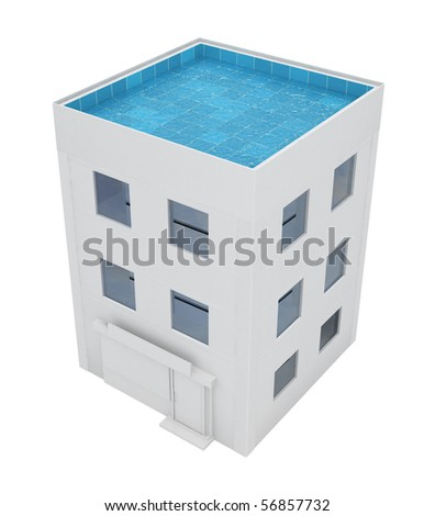 Building with swimming pool roof, over white, isolated