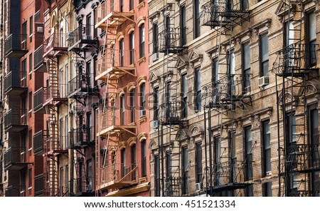 Buildings along 3rd Street near Tompkins Square Park in the East Village of Manhattan, New York City #451521334
