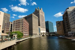 buildings along the Milwaukee river in downtown Milwaukee Wisconsin
