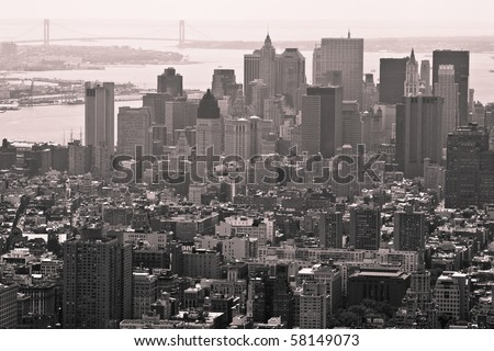 Buildings and City Skyline of a huge Metropolis, vintage monochrome