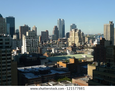 buildings and rooftops looking south and east towards lower manhattan and New Jersey