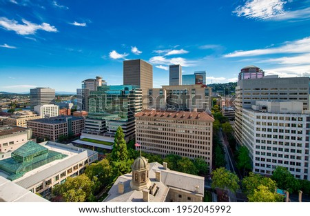 Buildings and skyscrapers of Portland, aerial view - Oregon. Photo stock ©
