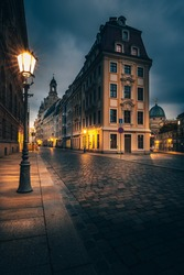 Buildings and street in Dresden. Historic Buildings. Urban area and city lifestyle. In the morning, blue hour sunrise