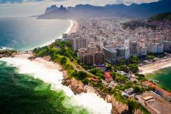 Buildings at the waterfront, Ipanema Beach, Copacabana Beach, Rio de Janeiro, Brazil