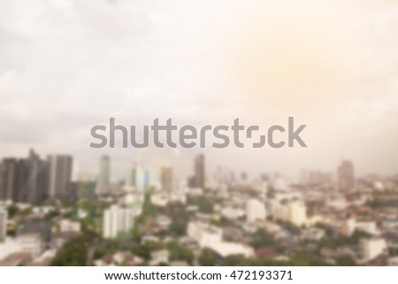 Buildings blur background, cityscape - with flare effect #472193371