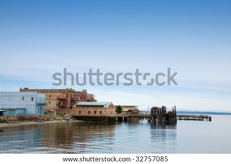 Buildings by the water in Port Townsend Washington.