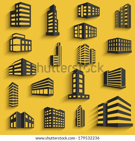 Buildings flat design web icons set with long shadows for Building design website