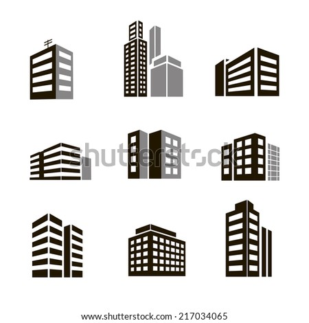 Buildings icons  illustrctration on white background