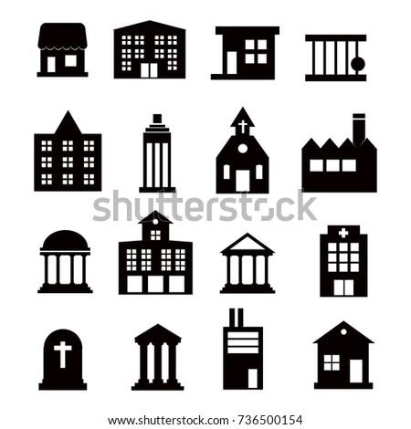 Buildings  icons set on white background.  Illustration