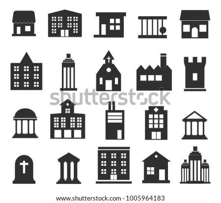 Buildings  icons set on white background.  Illustration EPS