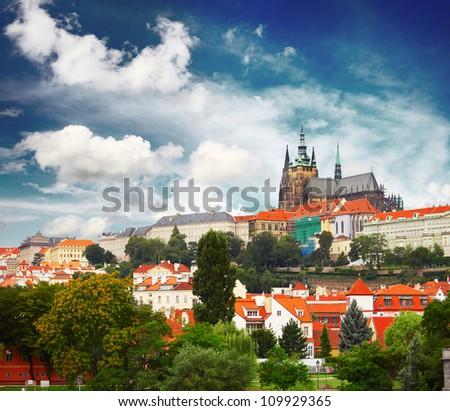Buildings in a city center of Prague, Czech Republic - stock photo