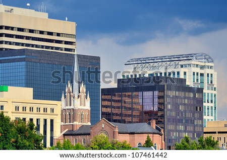Buildings in downtown Columbia, South Carolina, USA.