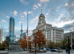 Buildings in Downtown Toronto with CN Tower and Autumn vegetation - Toronto, Ontario, Canada