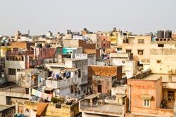 Buildings in New Delhi, India. Living conditions in Delhi