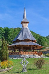 Buildings in the Barsana monastic complex, Maramures, Romania. The first wooden church was built in 1711 and the Orthodox Barsana Monastery is included in UNESCO world heritage.