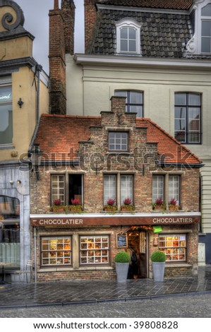 buildings in the old town of bruges, belgium (hdr)
