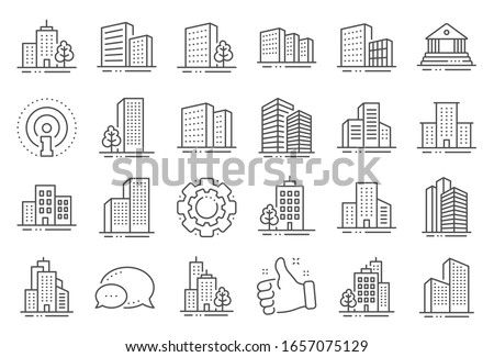 Buildings line icons. Bank, Hotel, Courthouse. City, Real estate, Architecture buildings icons. Hospital, town house, museum. Urban architecture, city skyscraper, downtown. Line signs set.