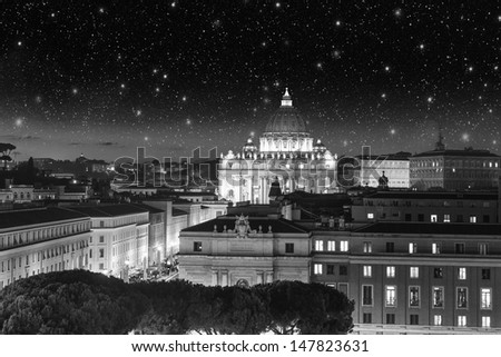 Buildings of Rome with Vatican St Peter Dome in background - sunset view.