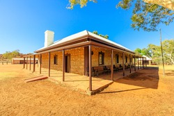 Buildings of the old telegraph station in Alice Springs town. An historic landmark in Alice Springs, Northern Territory, Central Australia. Outback Red Center desert.