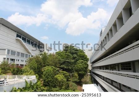 buildings of University under the blue sky
