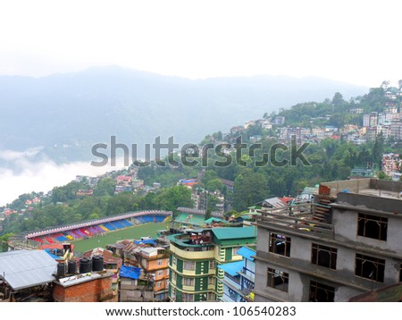 Buildings on plain and uphill in Gangtok, Sikkim.