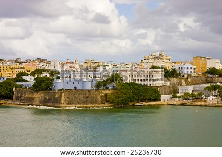 Buildings on the coast of San Juan, Puerto Rico