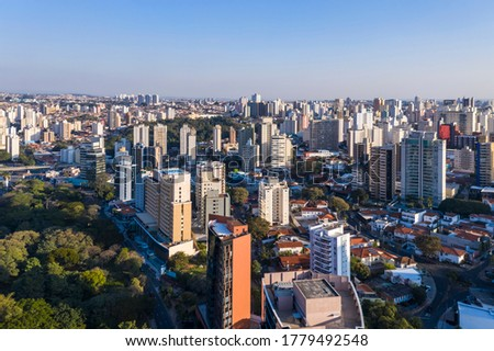 Buildings seen from above in Campinas, Sao Paulo, Brazil, Central Park North South