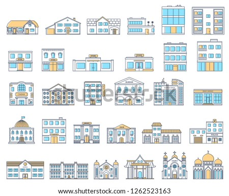 Buildings set. Buildings set. Cottages, store, museum, hospital, library, bank, cinema, religion, police, fire, school, university building isolated Urban public, retail and living buildings.