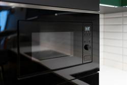 Built-in microwave in modern kitchen
