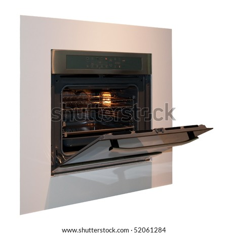 Built-in oven open, isolated